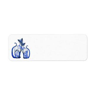 Gatos siameses del sauce azul etiquetas de remite