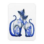 Gatos siameses del sauce azul imanes rectangulares