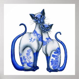 Gatos siameses del sauce azul poster