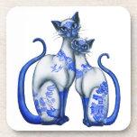 Gatos siameses del sauce azul posavasos de bebidas