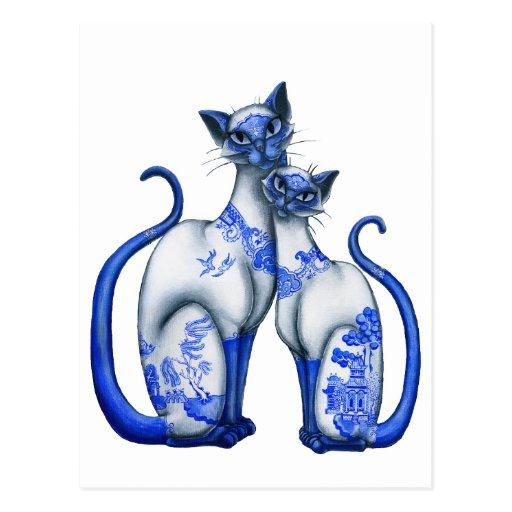 Gatos siameses del sauce azul postales