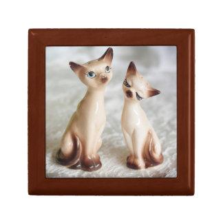 Gatos siameses del vintage caja de joyas