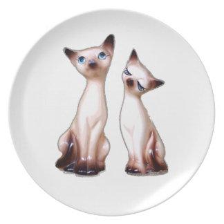Gatos siameses del vintage plato de cena