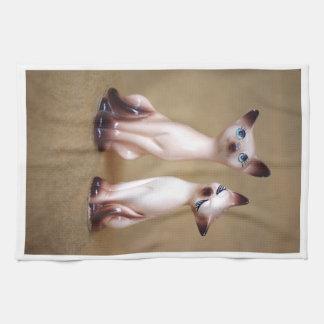 gatos siameses del vintage toalla de cocina