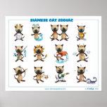 Gatos siameses del zodiaco impresiones