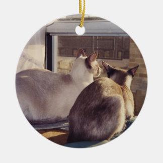 Gatos siameses en la ventana 2 adornos de navidad