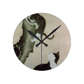 Gatos, siglo XVII (tinta en la seda) Reloj De Pared