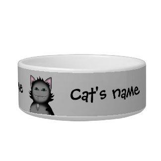 Gatos sombríos del gatito en gris tazones para agua para gatos