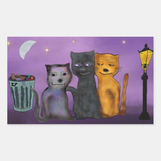 Gatos todo el Nighter Pegatina Rectangular
