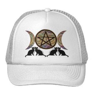 Gatos triples paganos del Pentagram de la diosa de Gorro De Camionero