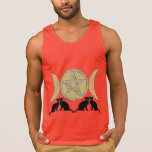 Gatos triples paganos del Pentagram de la diosa de Camisetas