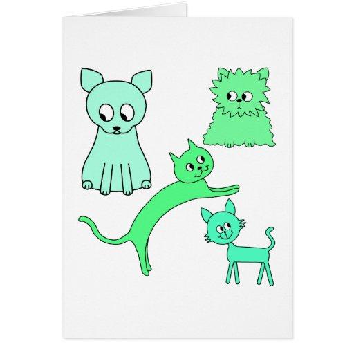 Gatos verdes felicitaciones