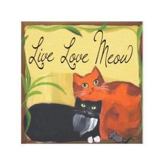 Gatos vivos del maullido del amor del ratón impresión en lona