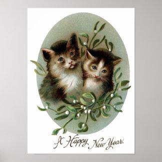 Gatos y Año Nuevo del vintage del muérdago Impresiones