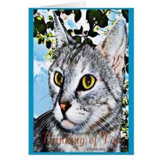 Gatos y arte de Digitaces de la plena floración de Tarjeta De Felicitación