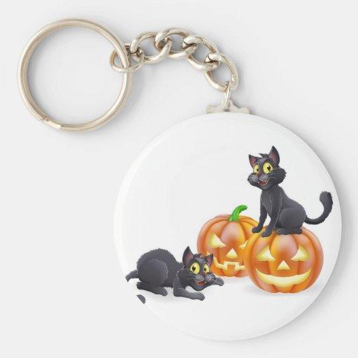 Gatos y calabazas de Halloween Llavero Redondo Tipo Pin