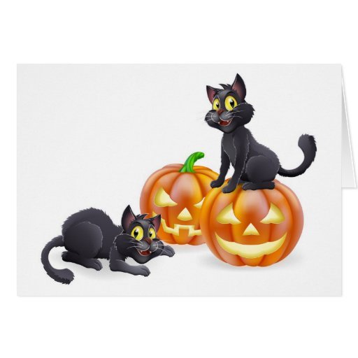 Gatos y calabazas de Halloween Tarjeta