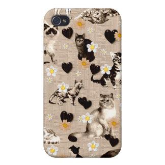 Gatos y corazones iPhone 4 carcasa