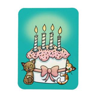 Gatos y cumpleaños de la torta imán flexible