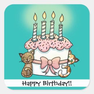 Gatos y cumpleaños de la torta pegatina cuadrada