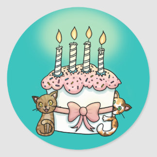 Gatos y cumpleaños de la torta pegatina redonda