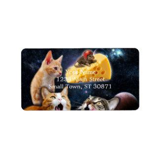 Gatos y el ratón en el queso etiqueta de dirección