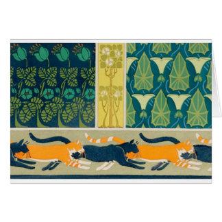 Gatos y flores de Nouveau del arte Tarjeta