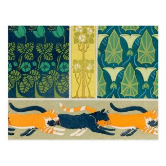 Gatos y flores de Nouveau del arte Postal
