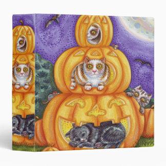 """gatos y Jack-o-linternas caprichosos de Halloween Carpeta 1 1/2"""""""
