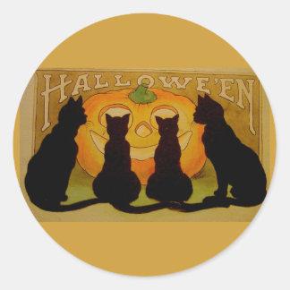 Gatos y Jack O'Lantern de Halloween del vintage Pegatina Redonda