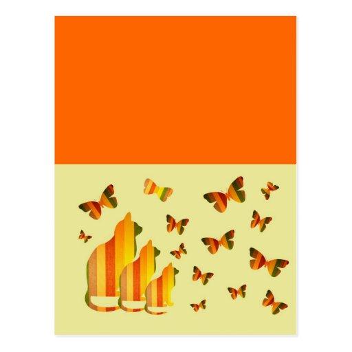 Gatos y mariposas tarjeta postal