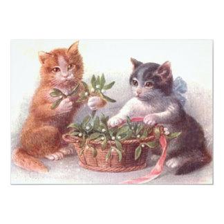 """Gatos y muérdago invitación 5"""" x 7"""""""