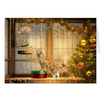 Gatos y navidad del ratón tarjeta de felicitación