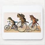 Gatos y perro del vintage en una bici tapetes de raton