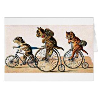 Gatos y perro del vintage en una bici tarjeta de felicitación