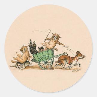 Gatos y perro divertidos; Arte lindo del vintage Pegatina Redonda
