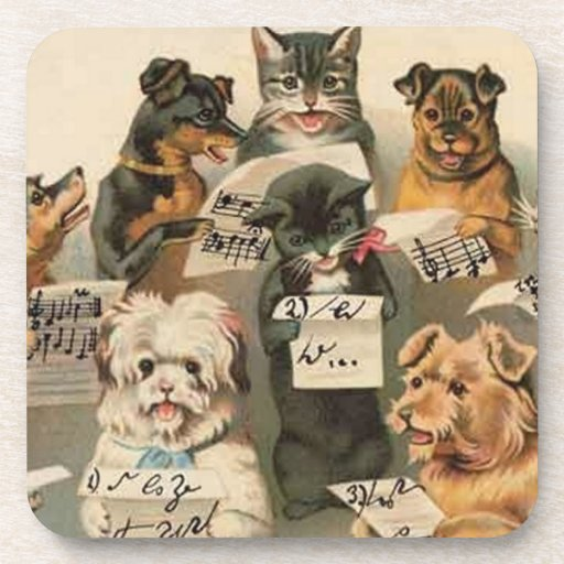 Gatos y perros del vintage en prácticos de costa d posavasos