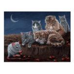 Gatos y rata con la postal de las fresas