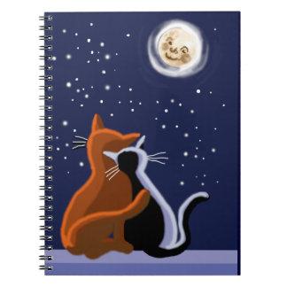 gatos y romance libros de apuntes con espiral