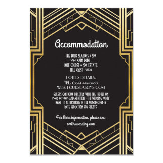 Gatsby Art Deco 1920s Accommodation Wedding Card
