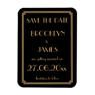 Gatsby Art Deco Black Wedding Save The Date Magnet