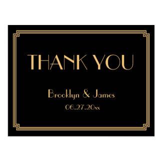 Gatsby Art Deco Black Wedding Thank You Postcards