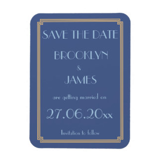 Gatsby Art Deco Blue Wedding Save The Date Magnet