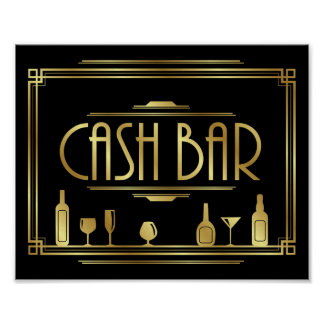 Gatsby Art Deco CASH BAR Sign Print