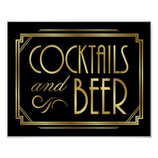 Gatsby Art Deco COCKTAILS and BEER Sign Print