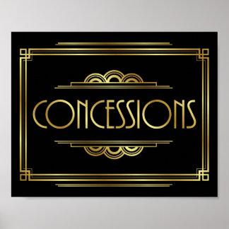 Gatsby Art Deco CONCESSIONS Sign Print