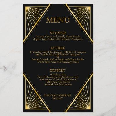 Gatsby Art Deco Dinner Menu   Editable Color