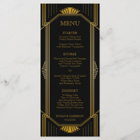 Gatsby Art Deco Dinner Menu | Editable Color