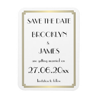 Gatsby Art Deco Gold Wedding Save The Date Magnet