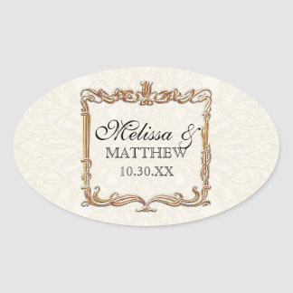 Gatsby Art Deco Nouveau Lace Faux Gold Tulip Oval Sticker